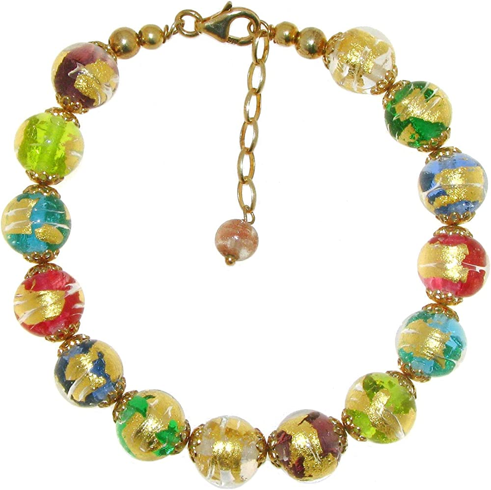 Linea italia gioielli venetiaurum - bracciale per donna con perle in vetro originale di murano e argento 925 925 ITALY 1431VI1