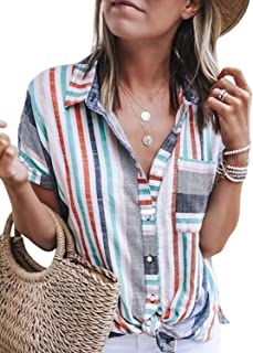 2f3a8362972 Astylish Women s Color Block Stripes Button Down Blouses Tops