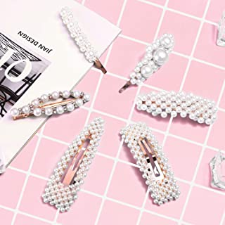 Pearl Hair Clips for Women Girls, [6 Pack]Fashion and sweet artificial pearl decorates hairpins pearl snap clip, large Barrettes hair styling clips for hair accessories, Wedding, Party, Birthday gifts