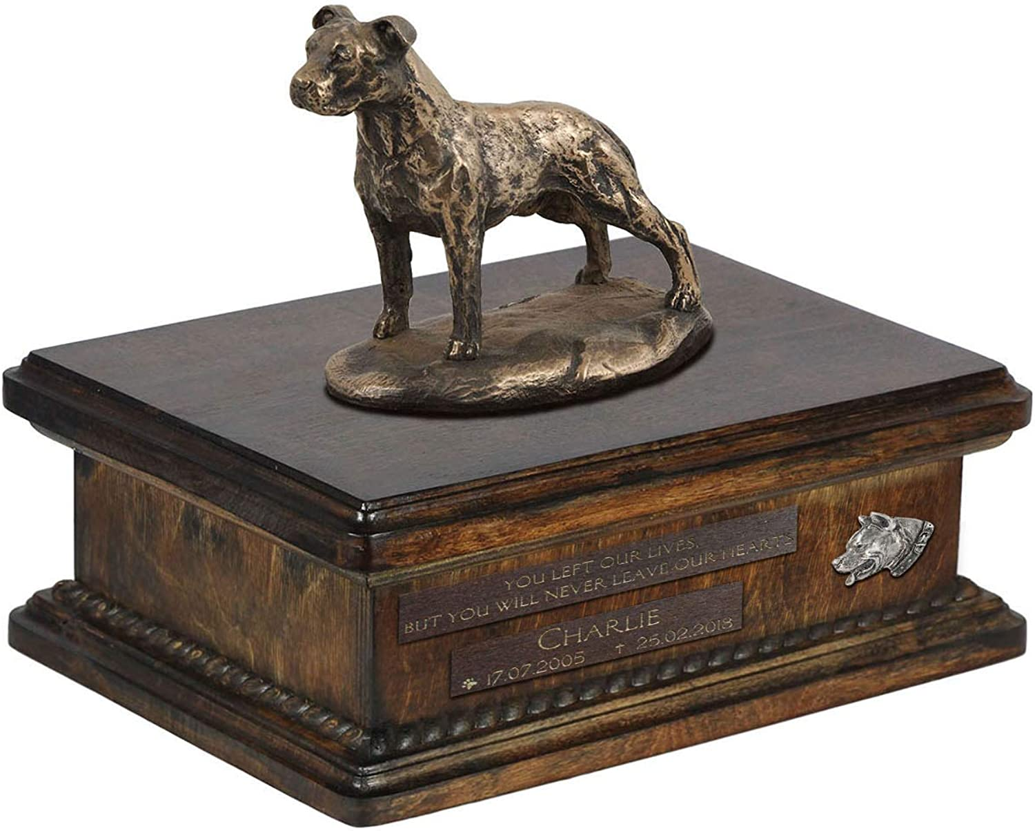 American Staffordshire Terrier uncropped, Urn for Dog Ashes Memorial with Statue, Pet's Name and Quote  ArtDog Personalized