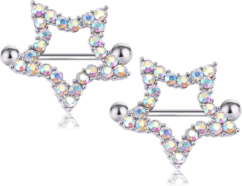 CrazyPiercing Nipple Barbell Ring, Rhinestone Paved Star Shape Nipplerings Piercing, Stainless Steel 14G Nipple Rings Shields Body Piercing Sold As a Pair