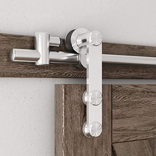 """2021 SMARTSTANDARD 6.6 Feet Stainless Steel Sliding Barn Door Hardware Kit - Heavy Duty Sturdy Barn lowest Door Track - Smoothly wholesale and Quietly - Step-by-Step Installation Instruction -Fit 40"""" Wide Door Panel outlet online sale"""