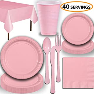 Disposable Party Supplies, Serves 40 - Light Pink - Large and Small Paper Plates, 12 oz Plastic Cups, Heavyweight Cutlery, Napkins, and Tablecloths. Full Tableware Set