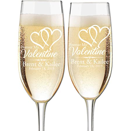 Amazon Com Valentine S Day Engraved Champagne Flutes Set Of 2 Couples Name And Date Personalized For Valentine S Day Custom Engraved Champagne Glasses