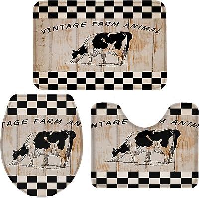 T&H XHome Bath Rug Sets 3 Piece for Bathroom,Retro Farm Animal Cow Checkered Wood Grain Ultra Soft Durable Memory Foam Bath Mats Set (Anti-Slip Absorbent Machine Washable)