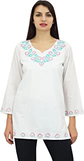 Phagun Women's Embroidered Summer Tunic Long Sleeve Casual Blouse Top