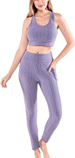 Workout Outfits for Women 2 Piece Set Padded Bra Crop Tank Top High Waist Yoga Pants Leggings w/ Pockets