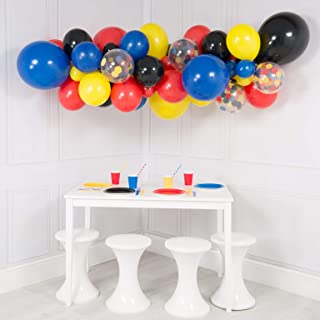 108pcs DIY Balloon Garland Kit Red Blue Black Yellow Giant Balloon Arch Superhero Theme Party Decor Perfect for Avengers Captain America Party Prop (Red Blue Black Yellow)