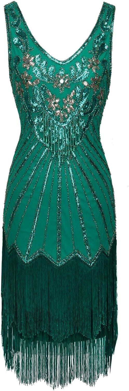 FAIRY COUPLE 1920er Gatsby Kurz Pailletten Flapper Kleid Quasten Saum Abschlussball Cocktail D20S020
