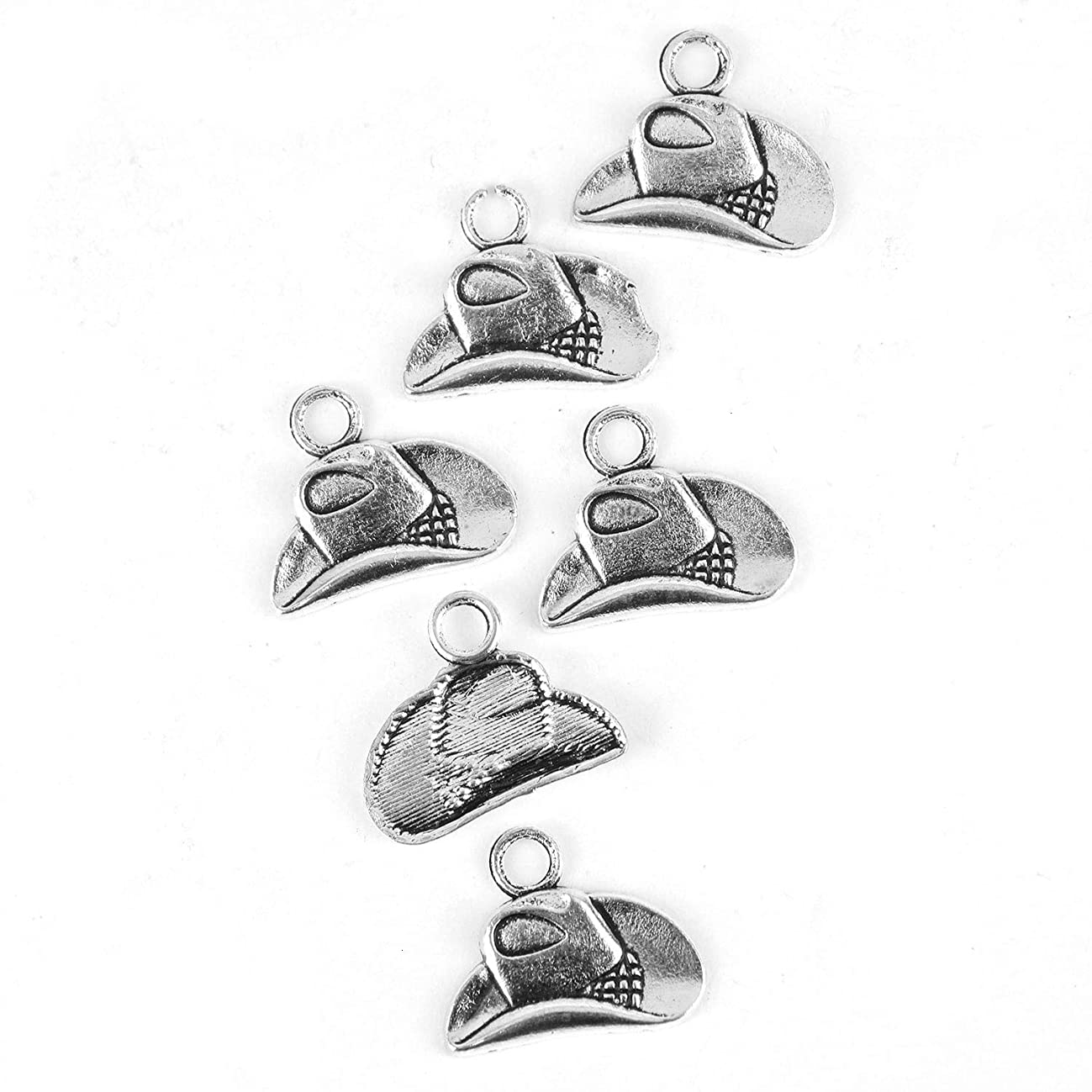Monrocco 50PC Silver Cowboy Hat Charm Western Charms for Jewelry Making Necklace DIY 20x16mm