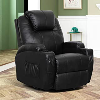Esright Massage Recliner PU Leather Ergonomic Lounge Heated Chair 360 Degree Swivel Recliner, Black
