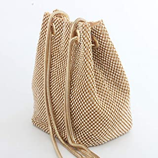Runhuayou Amber Sliver Moody 3 Colors, Effervescent Banquet Bucket Bag with Water Drill Suitable for Females of All Ages on Any Occasions (Color : Gold)
