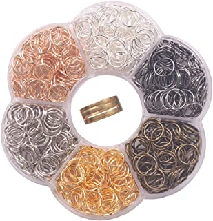 """YAKA 900Pcs 10mm1Box 6 Colors Open Jump Ring,Ring Jewelry Keychain for Jewelry Making Accessories,1Pcc Jump Ring Open/Close Tool and 1Pcs Clear Box (0.39""""/10mm)"""