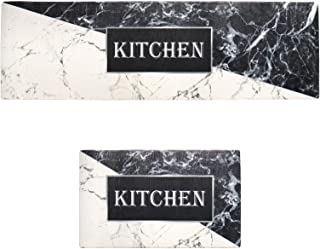 2X Kitchen Floor Rug Cushion PVC Waterproof Mat Marbling Design Home Indoor Modern 17.7x29.5 and 17.7x47.2 Inch