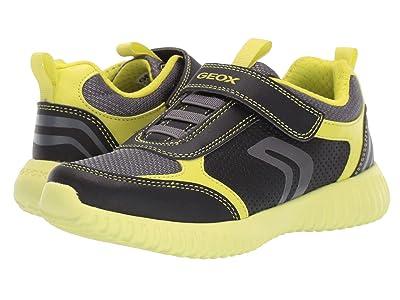Geox Kids Jr Waviness 12 (Little Kid/Big Kid) (Black/Lime) Boys Shoes