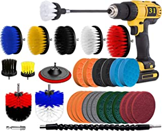 BRITOR Drill Brush Scrub Pads 31 Piece Power Scrubber Cleaning Kit, Scrub Pads & Sponge, Power Scrubber Brush with Extend ...