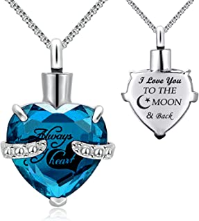 YOUFENG Urn Necklaces for Ashes Always in My Heart Heart Cremation Jewelry Memorial Pendant Birthstone Necklace