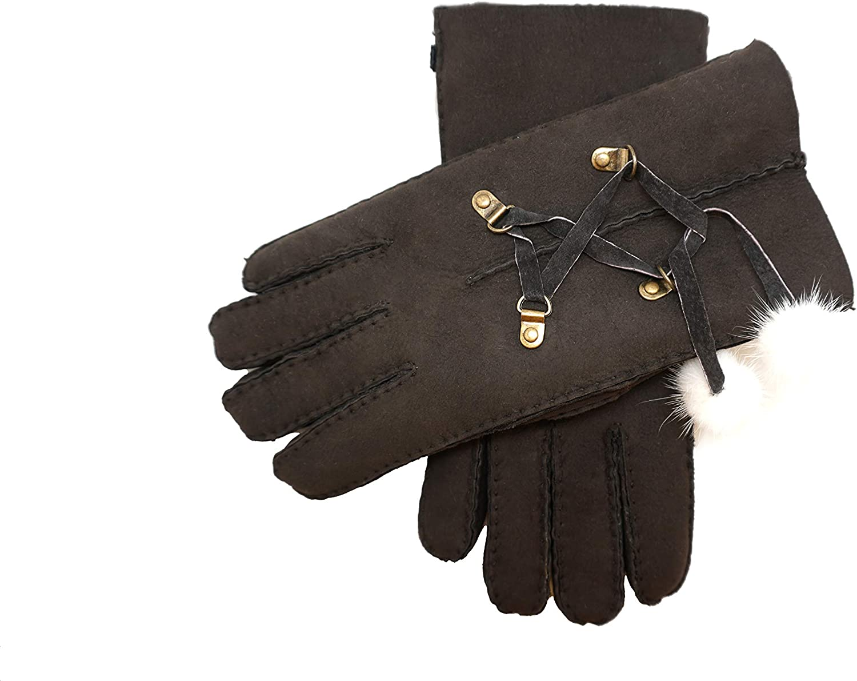 YISEVEN Women's Merino Lambskin Shearling Leather Gloves Furry Balls