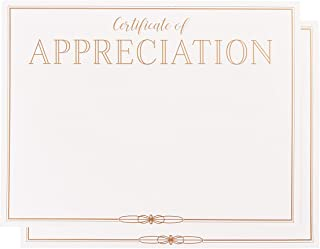 Certificate Papers - 48-Pack Certificate of Appreciation Award Certificates for Teacher, Volunteers, Employees, 180GSM, Gold Foil Print Border, Laser Printer Friendly, 8.5 x 11 Inches