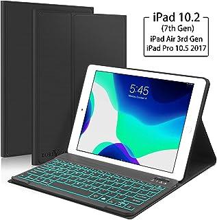 New iPad 10.2 7th Generation 2019 Keyboard Case, Boriyuan 7 Colors Backlit Detachable Keyboard Slim Leather Folio Smart Cover for iPad 10.2 Inch/iPad Air 3 10.5