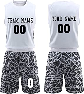 Custom Unisex Basketball Jerseys and Shorts Set Breathable Basketball Practice Uniforms with Name Numbers