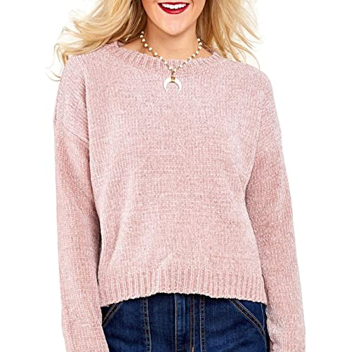 2f1a78a09c5d92 Semfri Women Casual Long Sleeve Crewneck Velvet Cropped Knitted Pullover  Sweater Loose Tops