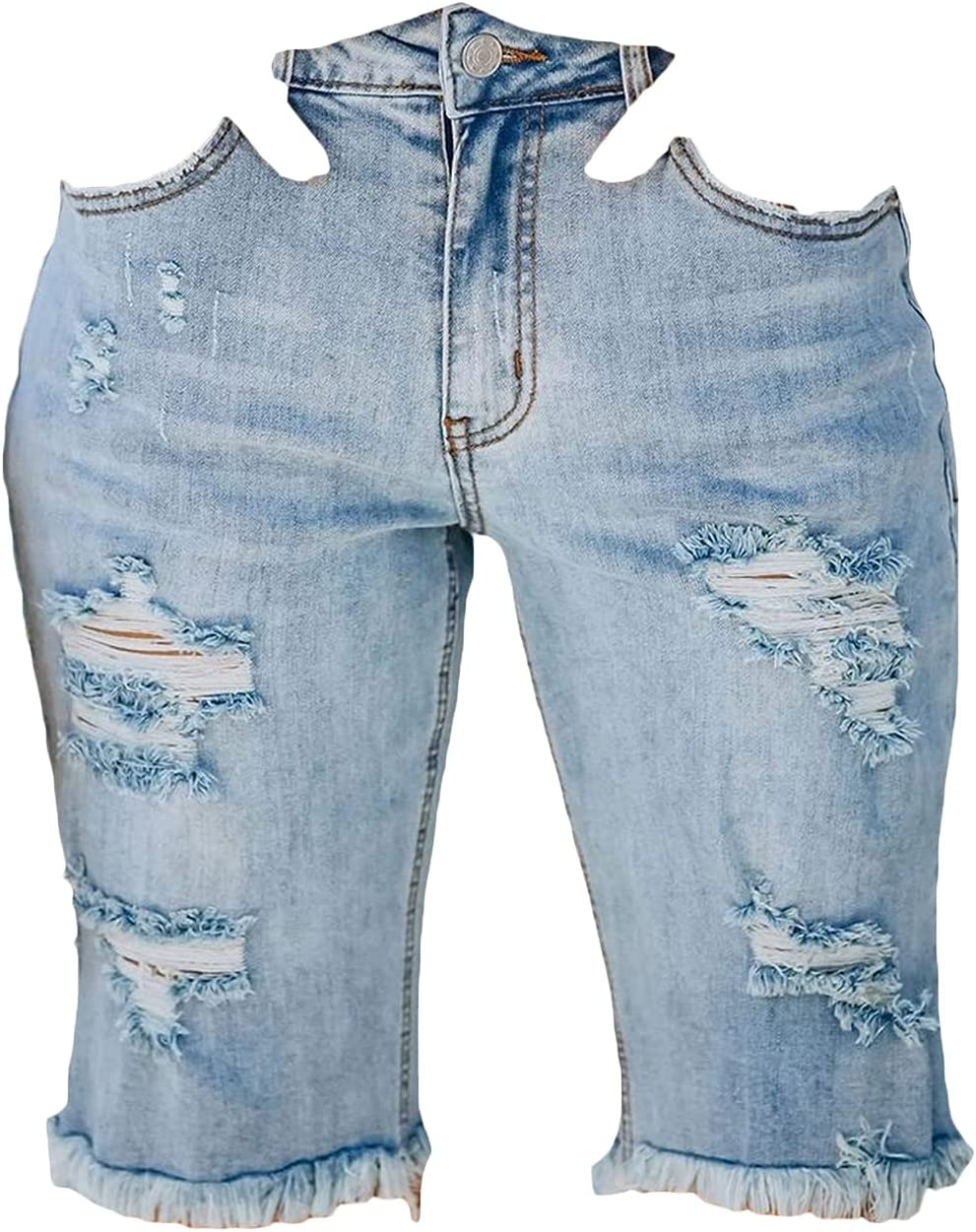 Women's Knee-Length Denim Shorts Mid Rise Distressed Bermuda Short Jeans Ripped Washed Frayed Slimming Hot Short Pant (Light Blue,XX-Large)