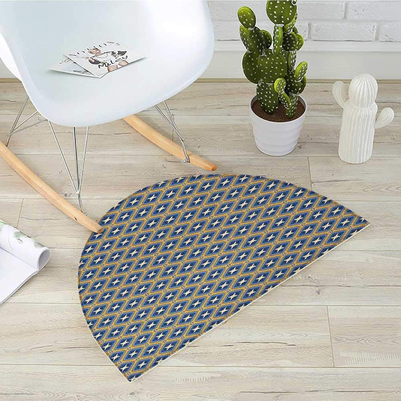 Ethnic Semicircle Doormat Persian Design with Arabesque Influences Kaleidoscopic Motifs Halfmoon doormats H 31.5  xD 47.2  bluee Marigold and Pale Yellow