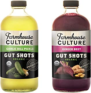 Farmhouse Culture Bev Gut Shot Variety Pack Garlic Dill Pickle and Ginger Beet- 2 Pack