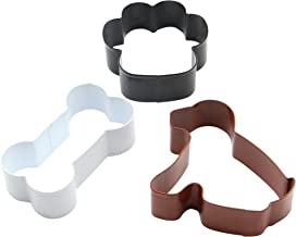 ShengHai Dog Cookie Cutter Set - 3 Piece - Dog, Paw Print and Dog Bone, Stainless Steel Cookie cutters