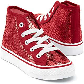 Balera Sneakers Girls Shoes for Dance with Sequins High Top Womens Lace Up Shoes