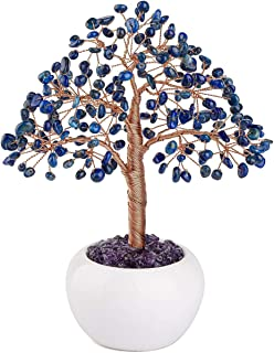 Top Plaza Lapis Lazuli Reiki Healing Crystals Money Tree Gemstone Stone Tree Feng Shui Good Luck Wealth Figurine Decor for...