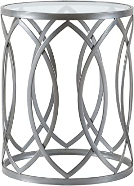 Madison Park Arlo Accent Tables For Living Room, Glass Top Hollow Round, Small Metal Frame Geometric Eyelet Pattern Luxe Mode