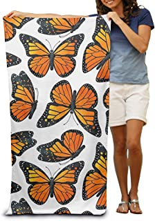 Dongi Monarch Butterfly Pattern Customize Microfiber Beach Towel -Ultra Soft Super Water Absorbent Multi-Purpose Beach Throw Towel Oversized 32