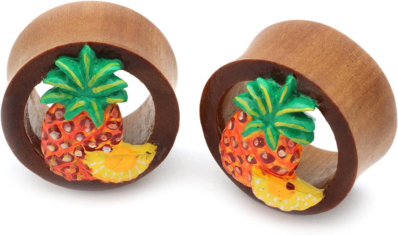 Double Flare Organic Wood Tunnel Plugs Pineapple Fruit Design Organic Body Piercing Jewelry