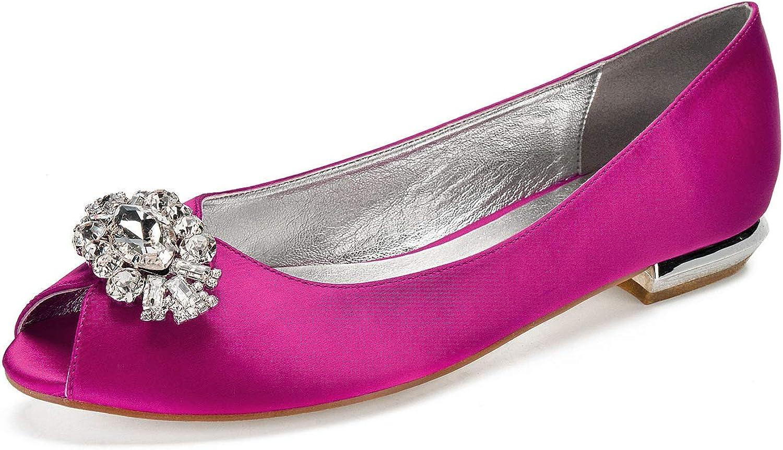 LLBubble Women Comfort Flat Satin Peep Toe Wedding Bridal shoes Slip-on Rhinestone Prom Evening Party Pumps 5049-56 7