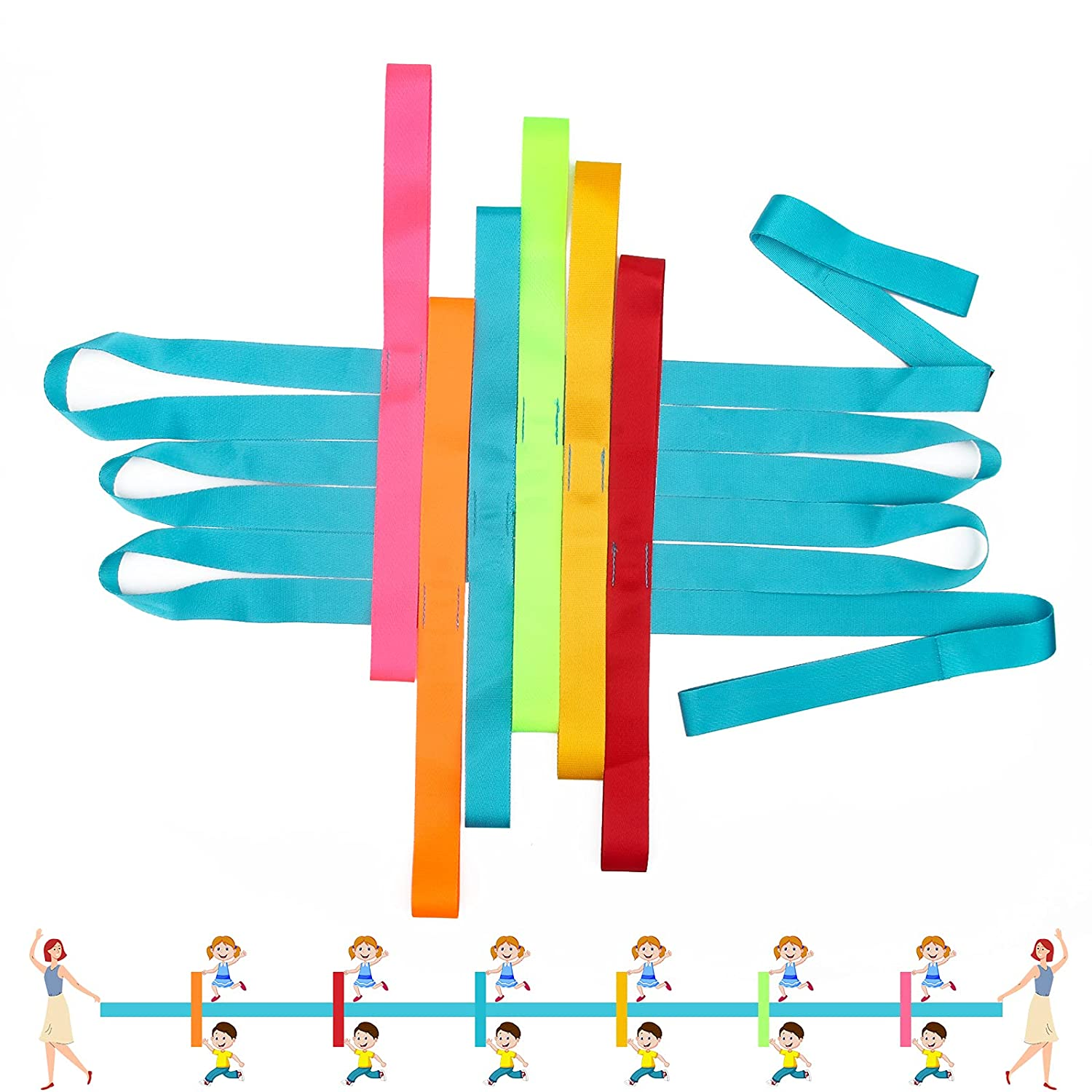 Winspeed Preschool Walking Rope for Daycare, Walking Rope for Children Safety Line Rope for Walking, Colorful Hands Walking Rope with Handles
