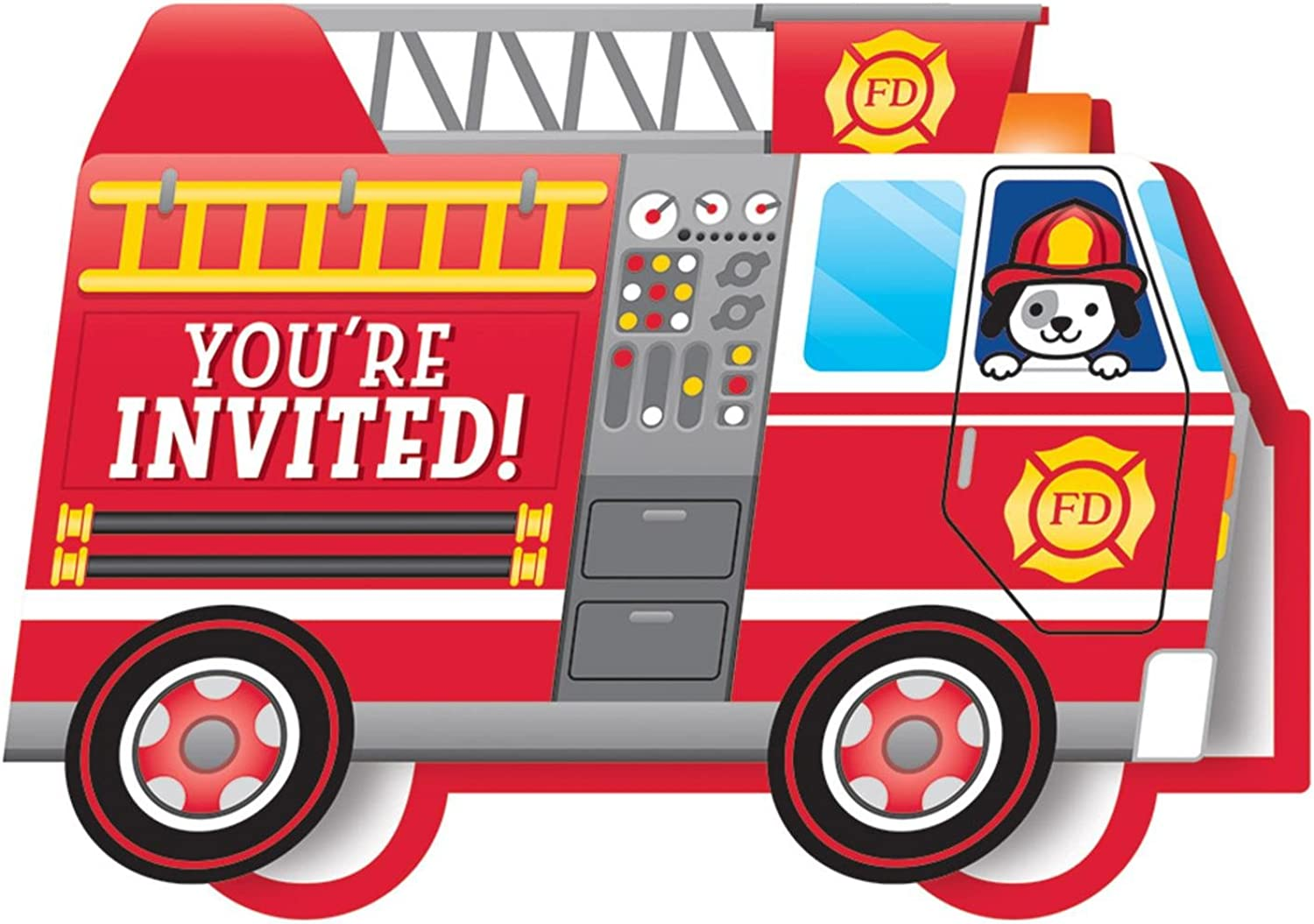 Party Central Club Pack of 48 Red and White Flaming Fire Truck Diecut Foldover Invitation 5