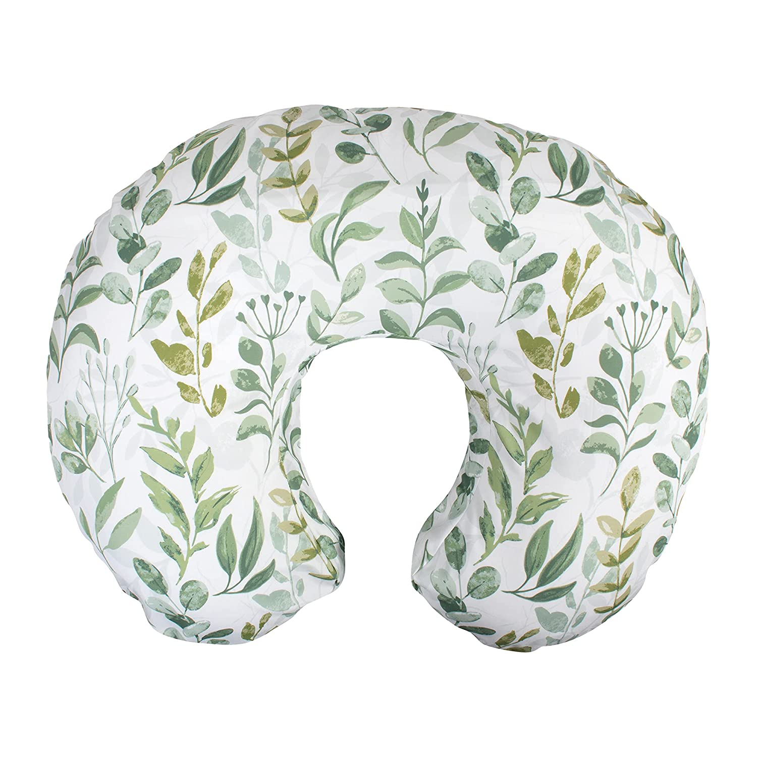 Boppy Nursing Pillow and Positioner—Original | Green Foliage | Breastfeeding, Bottle Feeding, Baby Support | with Removable Cotton Blend Cover