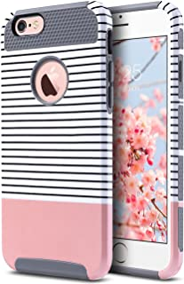 ULAK iPhone 6s Case, iPhone 6 Case, Colorful Series Slim Fit Dual Layer Scratch Resistant Hard Back Cover Shock Absorbent TPU Bumper Case for Apple iPhone 6 6s 4.7 inch(Grey+Pink+Minimal Stripes)