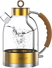 Electric Kettle, ASCOT Electric Tea Kettle 1.7QT, 1500W Glass Electric Kettle,Gold Stainless Steel, BPA-Free, Cordless, Au...