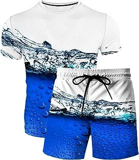 HoneyStore Men's Colorful Print Athletic Jogger Sets Top T-Shirt and Shorts Tracksuits