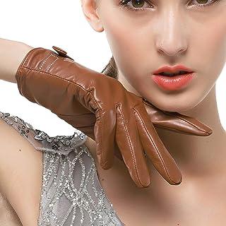 Nappaglo donne in vera pelle d'agnello i guanti di pelle guanti d'inverno caldo semplice cucitura arco bianco (touchscreen...