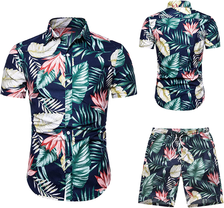 LEIYAN Mens Hawaiian Relaxed Shirts 2 Piece Summer Short Sleeve Beach Aloha Printed T-Shirts and Drawstring Shorts
