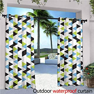 Jktown Geometric Custom Outdoor Curtain Abstract Triangle Pattern Waterproof Patio Door Panel 72x84 INCH,