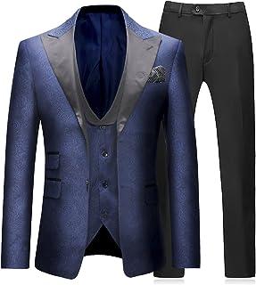 Trajes para Hombre 3 Piezas Slim Fit Boda Formal Traje de Cena Negro Azul Marino Vino Rojo Un botón con Muesca Solapa Esmoquin Blazer Chaqueta Chaqueta y Pantalones