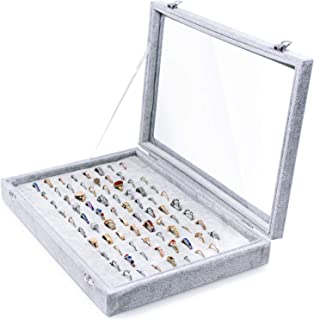 100 Slots Ring Storage Display Box with Transparent Lid ~ Jewelry Tray Organizer ~ Earring Holder Showcase (Grey)