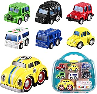 iBaseToy Pull Back Cars Toys for Kids, 1 Big Plus 6 Mini Assorted Pull Back Vehicles Toy Set & Push and Go Car Toy, Pull Back & Go Car Toy Play Set for Toddlers Boys Children Box