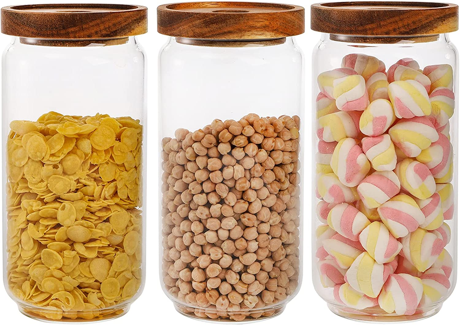 Bekith 3 Pack Glass Storage Containers with Airtight Seal Acacia Wood Lids, 31.6 FL OZ (950ml) Clear Glass Food Storage Jars for Kitchen, Glass Pantry Canister for Spaghetti Pasta, Coffee, Beans