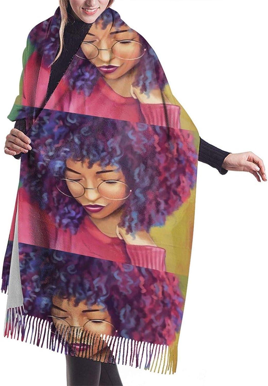 Womens Soft Cashmere Scarf,Black Woman Thinking Art Shawl Scarf,Premium Large Pashmina,Warm Wrap Cape Solid Shawl Elegant Wrap